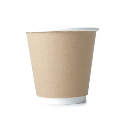 8oz Disposable Kraft Double Wall Cup  x 25 Pack