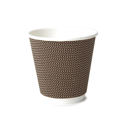 8oz Disposable Triple Wall Cup Brown Check x 500 Case