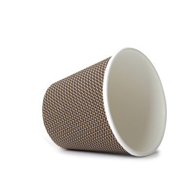 8oz Disposable Triple Wall Cup Brown Check x 25 Pack