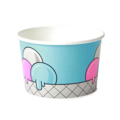 8oz Disposable Ice Cream Cup x 50 Pack