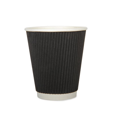 12oz Disposable Triple Wall Cup Black Ripple - 20 Pack