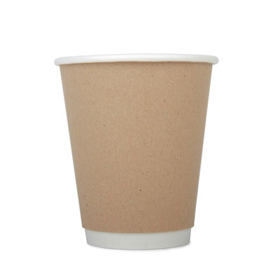 12oz Disposable Kraft Double Wall Cup x 20 Pack